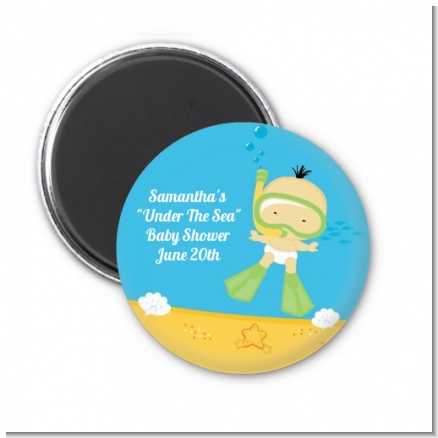 Under the Sea Asian Baby Snorkeling - Personalized Baby Shower Magnet Favors