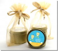 Under the Sea Asian Baby Twins Snorkeling - Baby Shower Gold Tin Candle Favors