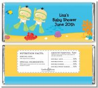 Under the Sea Asian Baby Twins Snorkeling - Personalized Baby Shower Candy Bar Wrappers