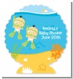 Under the Sea Asian Baby Twins Snorkeling - Personalized Baby Shower Centerpiece Stand thumbnail