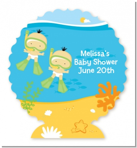 Under the Sea Asian Baby Twins Snorkeling - Personalized Baby Shower Centerpiece Stand