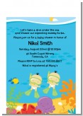 Under the Sea Asian Baby Twins Snorkeling - Baby Shower Petite Invitations
