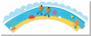 Under the Sea African American Baby Boy Twins Snorkeling - Baby Shower Cupcake Wrappers
