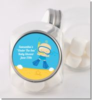 Under the Sea Baby Boy Snorkeling - Personalized Baby Shower Candy Jar