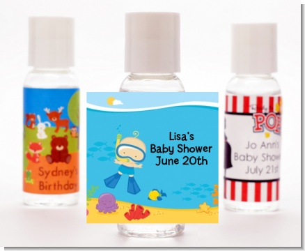 Under the Sea Baby Boy Snorkeling - Personalized Baby Shower Hand Sanitizers Favors