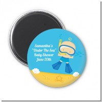 Under the Sea Baby Boy Snorkeling - Personalized Baby Shower Magnet Favors