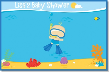 Under the Sea Baby Boy Snorkeling - Personalized Baby Shower Placemats
