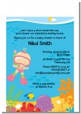 Under the Sea Baby Girl Snorkeling - Baby Shower Petite Invitations