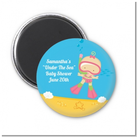 Under the Sea Baby Girl Snorkeling - Personalized Baby Shower Magnet Favors