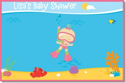 Under the Sea Baby Girl Snorkeling - Personalized Baby Shower Placemats