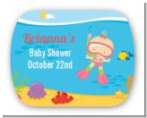 Under the Sea Baby Girl Snorkeling - Personalized Baby Shower Rounded Corner Stickers