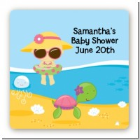 Beach Baby Girl - Square Personalized Baby Shower Sticker Labels