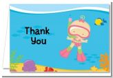 Under the Sea Baby Girl Snorkeling - Baby Shower Thank You Cards