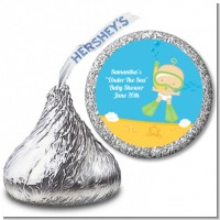 Under the Sea Baby Snorkeling - Hershey Kiss Baby Shower Sticker Labels
