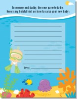 Under the Sea Baby Snorkeling - Baby Shower Notes of Advice