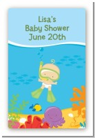 Under the Sea Baby Snorkeling - Custom Large Rectangle Baby Shower Sticker/Labels