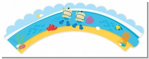 Under the Sea Asian Baby Boy Twins Snorkeling - Baby Shower Cupcake Wrappers