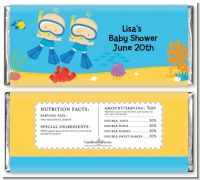Under the Sea Baby Twin Boys Snorkeling - Personalized Baby Shower Candy Bar Wrappers