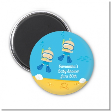 Under the Sea Baby Twin Boys Snorkeling - Personalized Baby Shower Magnet Favors
