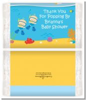 Under the Sea Baby Twin Boys Snorkeling - Personalized Popcorn Wrapper Baby Shower Favors