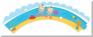Under the Sea Asian Baby Girl Twins Snorkeling - Baby Shower Cupcake Wrappers