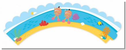 Under the Sea Hispanic Baby Girl Twins Snorkeling - Baby Shower Cupcake Wrappers