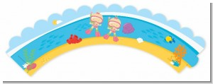 Under the Sea Baby Twin Girls Snorkeling - Baby Shower Cupcake Wrappers
