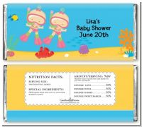 Under the Sea Baby Twin Girls Snorkeling - Personalized Baby Shower Candy Bar Wrappers