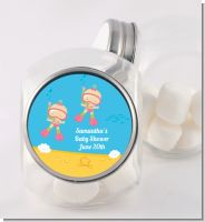 Under the Sea Baby Twin Girls Snorkeling - Personalized Baby Shower Candy Jar