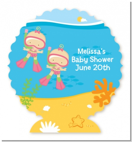 Under the Sea Baby Twin Girls Snorkeling - Personalized Baby Shower Centerpiece Stand