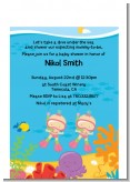 Under the Sea Baby Twin Girls Snorkeling - Baby Shower Petite Invitations
