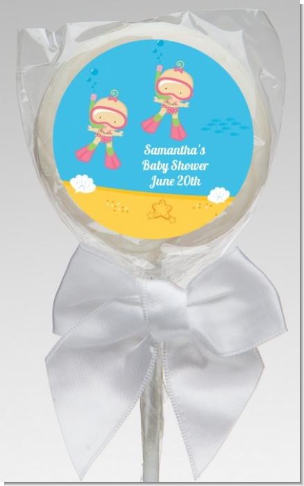 Under the Sea Baby Twin Girls Snorkeling - Personalized Baby Shower Lollipop Favors