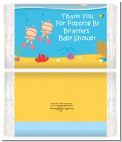 Under the Sea Baby Twin Girls Snorkeling - Personalized Popcorn Wrapper Baby Shower Favors