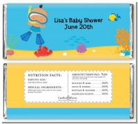 Under the Sea Hispanic Baby Boy Snorkeling - Personalized Baby Shower Candy Bar Wrappers