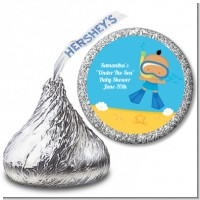 Under the Sea Hispanic Baby Boy Snorkeling - Hershey Kiss Baby Shower Sticker Labels