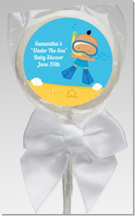 Under the Sea Hispanic Baby Boy Snorkeling - Personalized Baby Shower Lollipop Favors