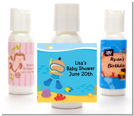 Under the Sea Hispanic Baby Boy Snorkeling - Personalized Baby Shower Lotion Favors