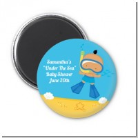 Under the Sea Hispanic Baby Boy Snorkeling - Personalized Baby Shower Magnet Favors
