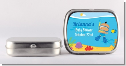 Under the Sea Hispanic Baby Boy Snorkeling - Personalized Baby Shower Mint Tins