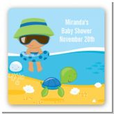 Beach Baby Hispanic Boy - Square Personalized Baby Shower Sticker Labels