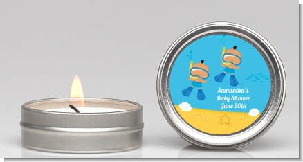 Under the Sea Hispanic Baby Boy Twins Snorkeling - Baby Shower Candle Favors