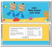 Under the Sea Hispanic Baby Boy Twins Snorkeling - Personalized Baby Shower Candy Bar Wrappers