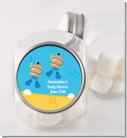 Under the Sea Hispanic Baby Boy Twins Snorkeling - Personalized Baby Shower Candy Jar
