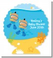 Under the Sea Hispanic Baby Boy Twins Snorkeling - Personalized Baby Shower Centerpiece Stand thumbnail