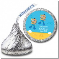 Under the Sea Hispanic Baby Boy Twins Snorkeling - Hershey Kiss Baby Shower Sticker Labels