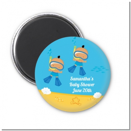 Under the Sea Hispanic Baby Boy Twins Snorkeling - Personalized Baby Shower Magnet Favors