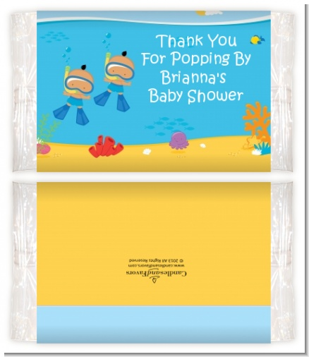 Under the Sea Hispanic Baby Boy Twins Snorkeling - Personalized Popcorn Wrapper Baby Shower Favors