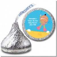 Under the Sea Hispanic Baby Girl Snorkeling - Hershey Kiss Baby Shower Sticker Labels
