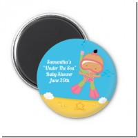 Under the Sea Hispanic Baby Girl Snorkeling - Personalized Baby Shower Magnet Favors