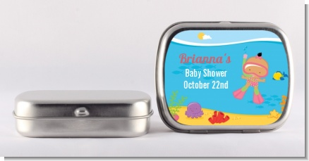 Under the Sea Hispanic Baby Girl Snorkeling - Personalized Baby Shower Mint Tins